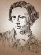 Robbi Musser Drawings - Lewis Carroll by Robbi  Musser