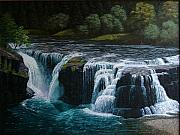 Waterfalls Paintings - Lewis River - Lower Falls by Ron Smothers