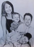 Portaits Drawings - Lewis S.s Daughter and grandsons by Thomas  Slover