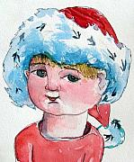 Santa Hat Drawings Prints - Lexi Print by Mindy Newman
