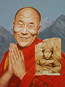 Lama Painting Framed Prints - Lhamo Thondup Becomes Kundun Framed Print by Shawn Shea