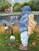 Canadian Geese Paintings - Liam and friends  by Catherine Amendola