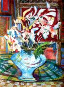 Flowers Mixed Media Originals - Liberating White by Mindy Newman