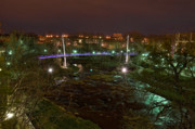 Streetlight Digital Art - Liberty Bridge and Reedy River by Steve Shockley