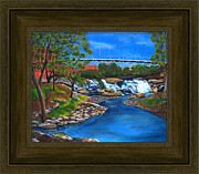 Rivers In The Fall Paintings - LIBERTY BRIDGE Custom Framed FINE ART Print For Sale - Offered Direct By The Artist by Andrew Wells