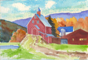 Mary Byrom Prints - Liberty Hill Farm in October  Print by Mary Byrom