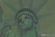 Statue Pastels Prints - Liberty in Green Print by Stephen Cheek II