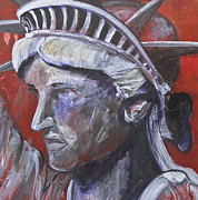 Lady Liberty Mixed Media Prints - Liberty in Red Print by Mary Gallagher-Stout