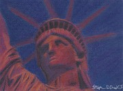 Statue Pastels Prints - Liberty in Red Print by Stephen Cheek II
