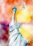 Fog Mist Digital Art Posters - Liberty In The Mist Poster by Madeline  Allen - SmudgeArt