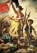 Soldier Paintings - Liberty Leading the People by Ferdinand Victor Eugene Delacroix