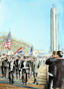 Patriotism Painting Originals - Liberty Memorial KC Veterans Day 2001 by Carolyn Coffey Wallace