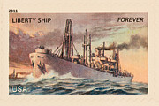 Postage Stamp Prints - Liberty Ship Stamp Print by Heidi Smith