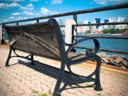 Jersey City Prints - Liberty State Park Bench Print by Valerie Morrison