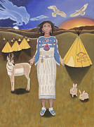 Lakota Paintings - Libra---White Buffalo Calf Woman by Karen MacKenzie