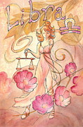 Astrology Sign Paintings - Libra by Arwen De Lyon