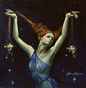 Live Art Painting Prints - Libra from Zodiac series Print by Dorina  Costras