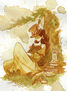 Women Glass Framed Prints - Librarian Framed Print by Brian Kesinger