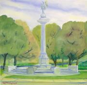 Library Painting Originals - Library Park Landmark Kenosha WI.  by Kenneth Michur