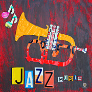 Road Trip Art - License Plate Art Jazz Series Number One Trumpet by Design Turnpike