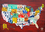 Transportation Mixed Media Metal Prints - License Plate Map of The United States - Midsize Metal Print by Design Turnpike