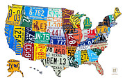 Recycle Mixed Media Prints - License Plate Map of The United States Outlined Print by Design Turnpike