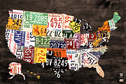 Transportation Mixed Media Prints - License Plate Map of The United States - Warm Colors / Black Edition Print by Design Turnpike