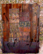 Cabin Wall Mixed Media - License Plate Wall by Cathie Richardson