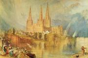 Gothic Architecture Framed Prints - Lichfield Framed Print by Joseph Mallord William Turner