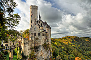 Fall Framed Prints - Lichtenstein Castle Framed Print by Ryan Wyckoff