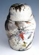 Human Ceramics - Lidded Raku Jar by Alene Sirott-Cope