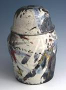 Human Ceramics - Lidded Raku Jar VIew 2 by Alene Sirott-Cope