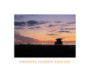 Sarasota Digital Art Posters - Lido Key Sunset Poster by Karen Francis