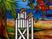 Sand.ocean Paintings - Life Guard In Jamaica by Patti Schermerhorn