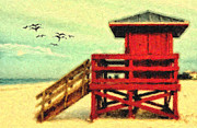 Life Guard Framed Prints - Life Guard Station Framed Print by Gina Cormier
