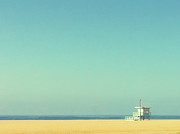 Horizon Over Water Prints - Life Guard Tower Print by Denise Taylor