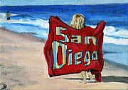 Beach Towel Painting Posters - Life in San Diego Poster by Debbie Brown