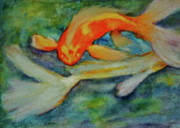 Koi Painting Posters - Life in the Pond Poster by Carla Stein
