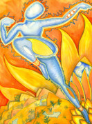 Abstract Dance Painting Originals - Life is a pure flame and we live by an invisible sun within us   Sir Thomas Brown    by Mark Stankiewicz