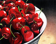 Red Cherries Framed Prints - Life Is.... Framed Print by Angela Armano