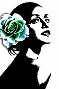 Fashion Face Digital Art Posters - Life is beautiful Poster by Ramneek Narang