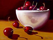 Fruit Still Life Pastels Framed Prints - Life is Just a Bowl of Cherries Framed Print by Colleen Brown