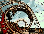 Thrill Digital Art - Life is like a Rollercoaster by George Pedro
