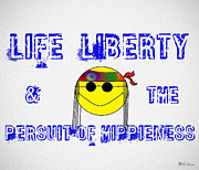 Smiley Face Framed Prints - Life Liberty and the Persuit of Hippieness Framed Print by Bill Cannon