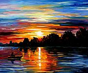 Fishing Painting Prints - Life Memories Print by Leonid Afremov