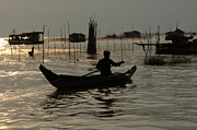 Travel Photography Prints - Life On Lake Tonle Sap 7 Print by Bob Christopher