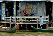 Travel Photography Prints - Life On Lake Tonle Sap 8 Print by Bob Christopher