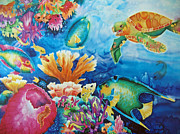 Caribbean Sea Paintings - Life on the Ledge by Deborah Younglao
