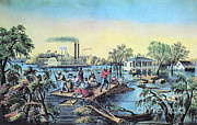 River Flooding Metal Prints - Life On The Mississippi, 1868 Metal Print by Photo Researchers