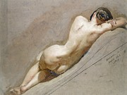 Nudes Paintings - Life study of the female figure by William Edward Frost